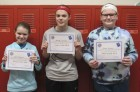 The top three spelling bee finishers in sixth grade were Leah Schemmel, first; Kennedy Hermsen, second; and Gabby Donovan, third. (Photo by Kim Brooks)