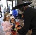 Daphne and Hannah Gobeli are treated to some fun treats by Sandy Moats at Monticello Carpet & Interiors.
