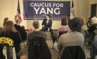 Andrew Yang, Democratic candidate for president, conducts a discussion during his visit to the Monticello City Council Chambers Jan. 31. It was Yang's second campaign event in Monticello. (Photo by Pete Temple)