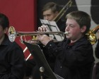 Keegan Freese plays trumpet with the grade 7-8 band at the Band Roundup.