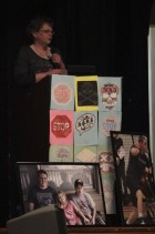 Heather Paddock warns students about the consequences of drinking and driving during the DARE graduation ceremony. She and her husband Mike lost their son Cameron to an accident caused by a drunk driver in September 2016.