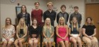 The Monticello High School Homecoming Court for 2019, first row from left: honorary member Louise Rydell, Sydney Ballou, Emma Brighton, Leah Holub, Lizzie Petersen, Gabrielle Steiner and honorary member Lisa Dios. Second row: Cade Folken, Jeff Carlson, Carter Cruise, Devin Kraus and Ethan Martensen. (Photo by Pete Temple)