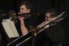 Trombone players Jeff Carlson (left) and Gabe Wright perform at the March 11 concert.