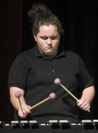 Rebecca Lang performs on vibes as part of the Lab Jazz Band in Thursday's concert.