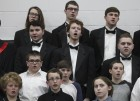 Middle school and high school boys sing together during the All-Vocal Concert. They include, first row from left: Sawyer Brokaw, Alex Oswald and Alex Foster. Second row: Cameron Osterkamp, Cael Sampson and Jonah Luensman. Third row: Matthew Fokken, Robbie Holmes and Justin Martin. Fourth row: Dalton Hampson, Alan Janssen and Mason Kraus.