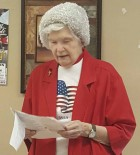 Senior Dining volunteer Fran Adams recited a Veterans Day poem during noon meal. The poem was about what it means to be a veteran. Adams dedicated it to her long-time friend, Gilbert Schocker.